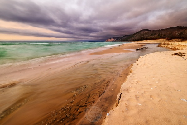Purple skies over Otter Creek at Lake Michigan in the Sleeping Bear Dunes