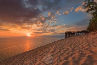 A Lake Michigan sunset from the main dune overlook on the Pierce Stocking (Sleeping Bear Dunes) Scenic Drive