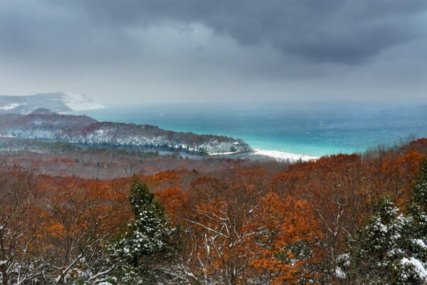 Fall and winter collide over Lake Michigan at Empire