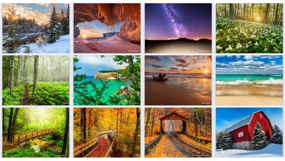 2020 Northern Michigan Wall Calendar Images